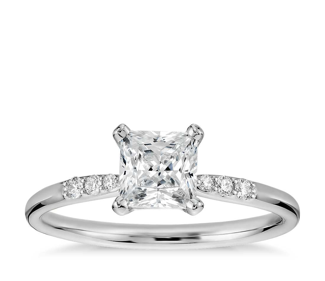 14k Yellow Gold Over 3//4 Ct Solitaire Princess Cut Diamond Engagement Ring