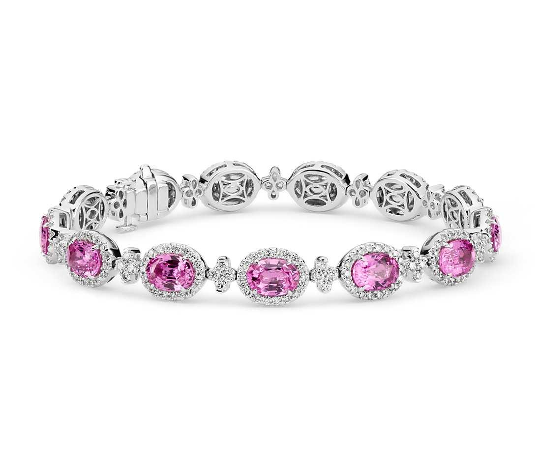 f6ce363a588 Pink Sapphire and Pavé Diamond Halo Bracelet – jewelsStore